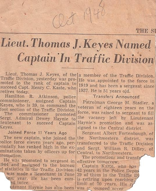 Thomas Keys named Captain in Traffic 1948