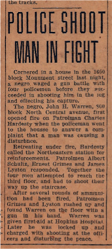 1935 News article Police Shoot Man in fight