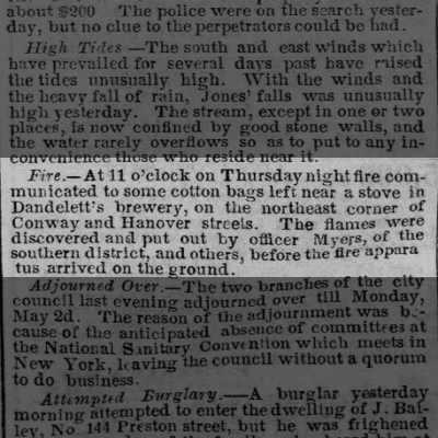 23 April 1859 Baltimore Sun article