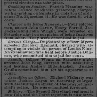 23 September 1861 Baltimore Sun article