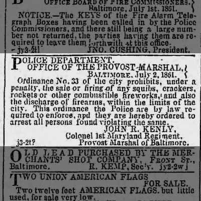 3 July 1861 Baltimore Sun article