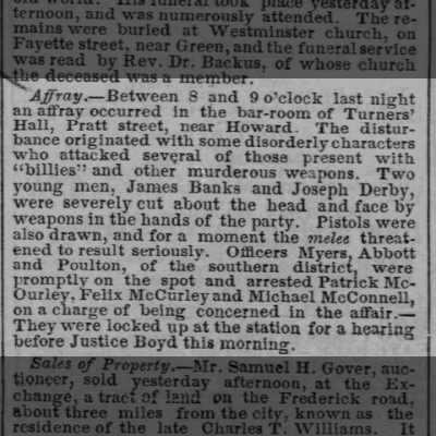 6 April 1858 Baltimore Sun article