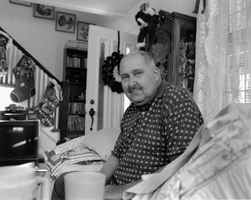 P O Dave Bowen at home shortly before he passed 500