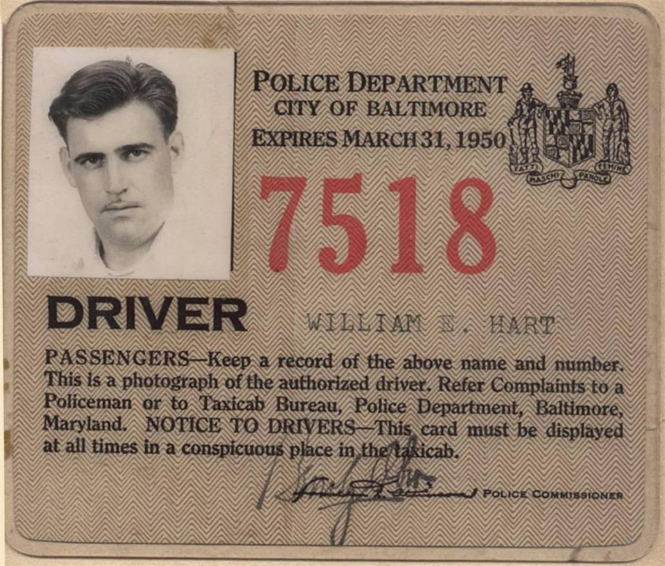Police Taxi license 1950 front
