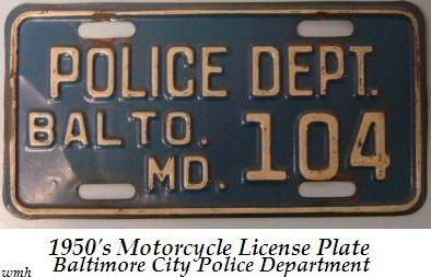 1950s Motorcycle license plate