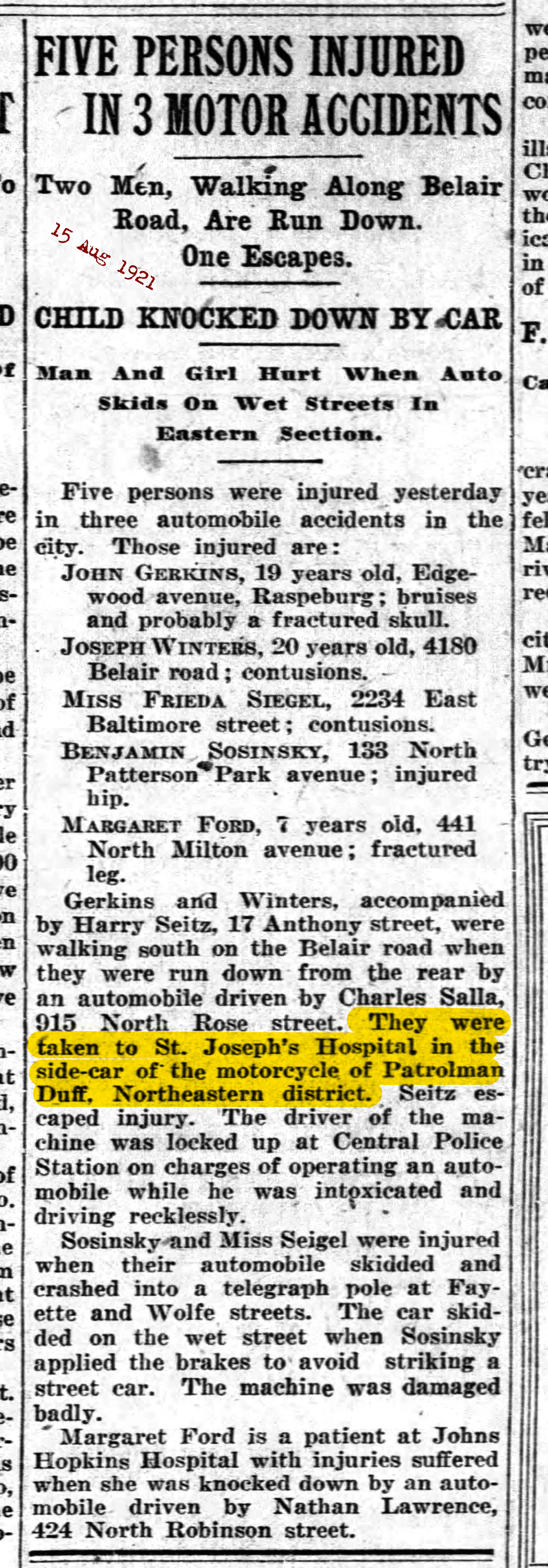 The Baltimore Sun Mon Aug 15 1921 sidecar highlighted