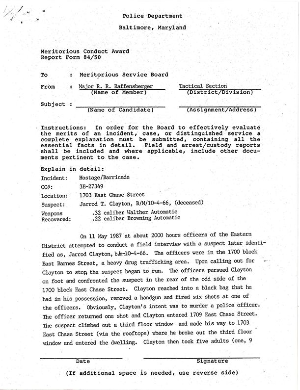 Chase St. Hostage Incident Commendation 1